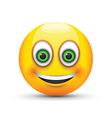 smiling emoji big realistic green eyes vector image vector image