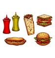 fast food burger and sandwich sketch set vector image vector image
