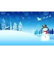 Snowman on Christmas night vector image vector image