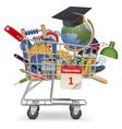 Trolley with School Supplies vector image vector image