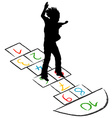 Child silhouette jumping over hopscotch vector image