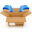 opened box with arrow inside vector image vector image