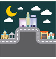 city buildings road urban street landscape night vector image