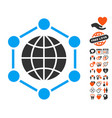global frame icon with valentine bonus vector image