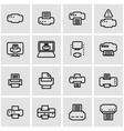line printer icon set vector image
