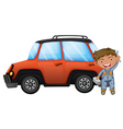 A man fixing the orange car vector image vector image