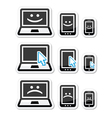 Laptop tablet and phone with cursor arrow happy vector image