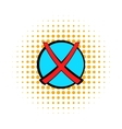 Red cross check mark icon comics style vector image
