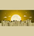 buildings background in a golden moonlight vector image