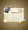 Calendar October 2014 vector image