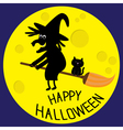 Flying black witch and cat Big moon Happy vector image