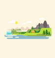 nature landscape with mountains hills river and vector image