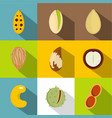 nuts icons set flat style vector image