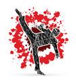 taekwondo high kick action with guard equipment vector image