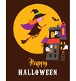 Halloween greeting card with ghosts haunted house vector image vector image