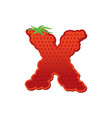 letter x strawberry font red berry lettering vector image