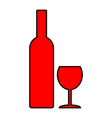 Bottle and glasse vector image