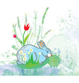 Easter rabbit with flowers background vector image