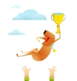 Winning Red Happy Dog Throwing Up on Arms with Cup vector image vector image
