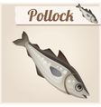 Fresh pollock fish Detailed Icon vector image