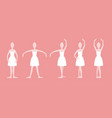 cartoon five basic ballet positions set vector image