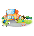 Children playing football at the school vector image