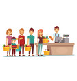 customers people queue at cash desk with cashier vector image