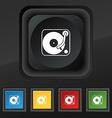 Gramophone vinyl icon symbol Set of five colorful vector image