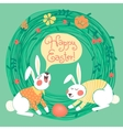 Happy Easter card with cute bunnies vector image