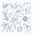 Space Explorers Doodles Set vector image