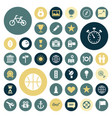 flat design icons for travel sport and leisure vector image vector image