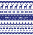 Happy New Year 2014 scandynavian christmas pattern vector image vector image
