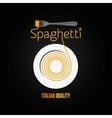 spaghetti pasta plate fork menu background vector image