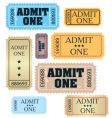 tickets: admit one  vector image