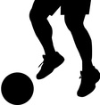 Man feet silhouette with ball vector image vector image