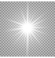 White glowing light burst on transparent vector image