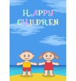 Children on beach vector image