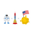 First Astronaut on moon American flag on moon vector image
