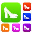 high heel shoes set collection vector image