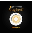 spaghetti pasta plate fork menu background vector image