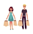 Young man and woman couple friends with shopping vector image