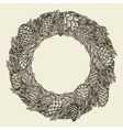 Monochrome Christmas wreath vector image