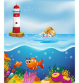 A girl swimming near the lighthouse vector image