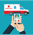 application to call ambulance vector image