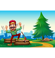 A lumberjack shouting while chopping the woods vector image vector image