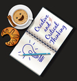 booklet mug of cappuccino and croissant vector image