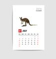 2016 July calendar Kangaroo polygon vector image