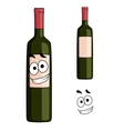 Cartoon bottle of red wine with a smiling face vector image