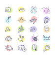 colorful set with outline icons vector image