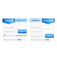 Register Sign in Forms with Blue Gradient Header vector image